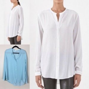 Equipment Femme Faye long sleeve silk blouse blue